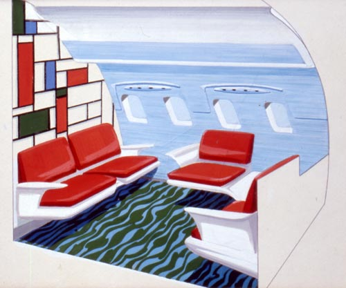 Airplane interior rendering, circa 1957. Courtesy Collection of Dorothy Draper & Co. Inc, The Carleton Varney Design Group.