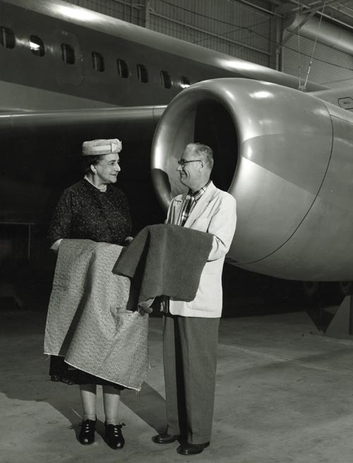 Dorothy Draper with Convair executive, circa 1957. Courtesy Collection of Dorothy Draper & Co. Inc. The Carleton Varney Design Group.