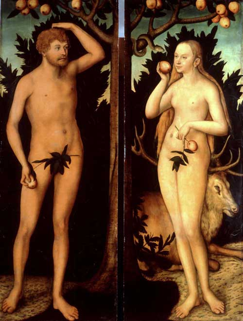 Lucas Cranach, <i>The Younger Adam and Eve</i>, after 1537. Oil on limewood 