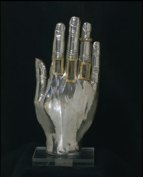 Hand reliquary, 1250-1300. Courtesy Victoria and Albert Museum.