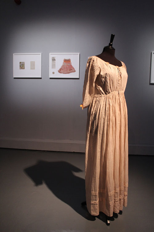 Anna Dumitriu. The Romantic Disease Dress. Installation view in The Theatrum Anatomicum, 2014, Waag Society Amsterdam. Photograph: Anna Dumitriu.