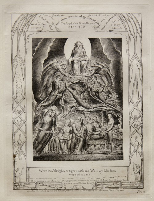 William Blake. Satan Before the Throne of God, from Illustrations of the Book of Job, 1825 (published 1826). Engraving on India paper chine collé on wove paper. Jansma Collection, Grand Rapids Art Museum, 2014.1c.