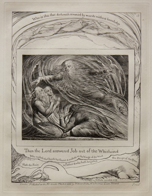William Blake. The Lord Answering Job out of the Whirlwind, from Illustrations of the Book of Job, 1825 (published 1826). Engraving on India paper chine collé on wove paper. Jansma Collection, Grand Rapids Art Museum, 2014.1n
