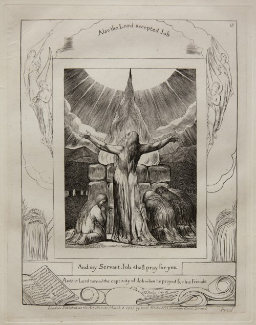 William Blake. Job's Sacrifice, from Illustrations of the Book of Job, 1825 (published 1826) Engraving on India paper chine collé on wove paper. Jansma Collection, Grand Rapids Art Museum, 2014.1s