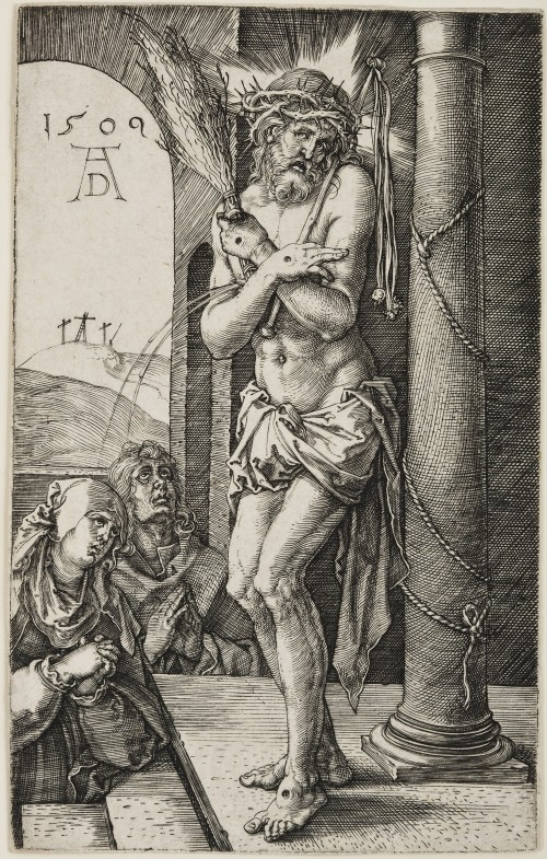 Albrecht Dürer. The Man of Sorrows Standing by the Column, from The Engraved Passion, 1509 Engraving on paper. Jansma Collection, Grand Rapids Art Museum, 2007.16a