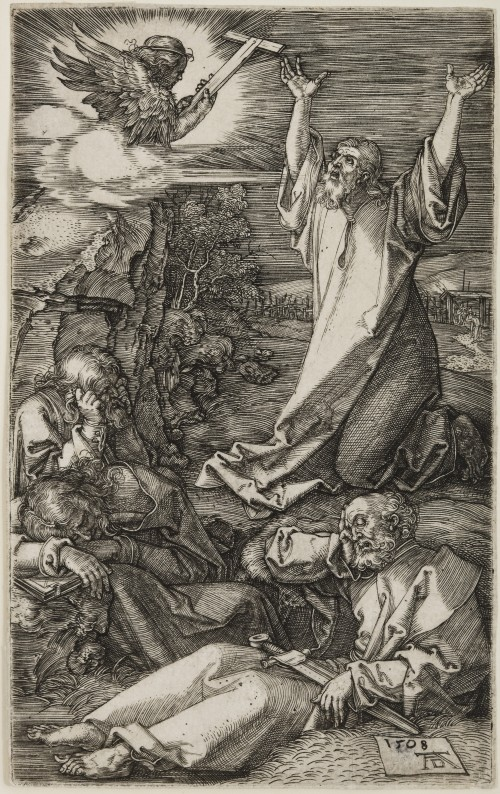 Albrecht Dürer. Christ on the Mount of Olives, from The Engraved Passion, 1508 Engraving on laid paper. Jansma Collection, Grand Rapids Art Museum, 2007.16b
