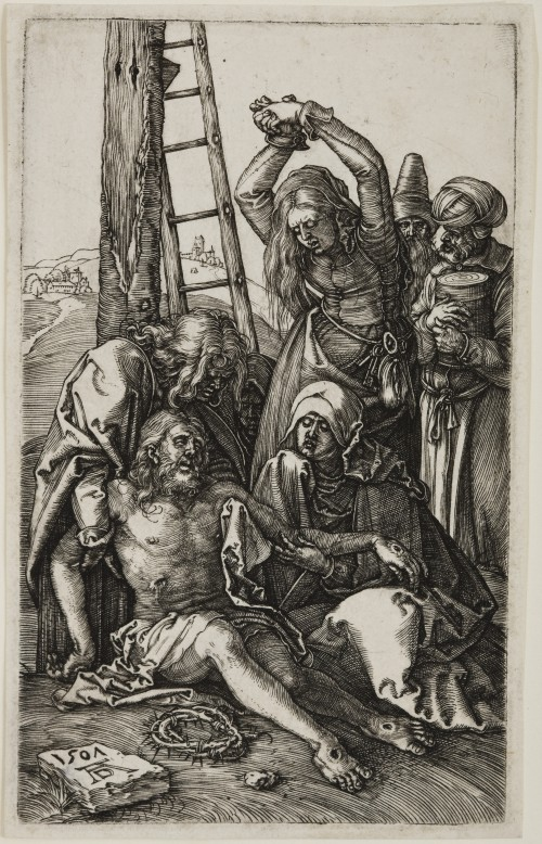 Albrecht Dürer. Lamentation, from The Engraved Passion, 1507 Engraving on laid paper. Jansma Collection, Grand Rapids Art Museum, 2007.16l