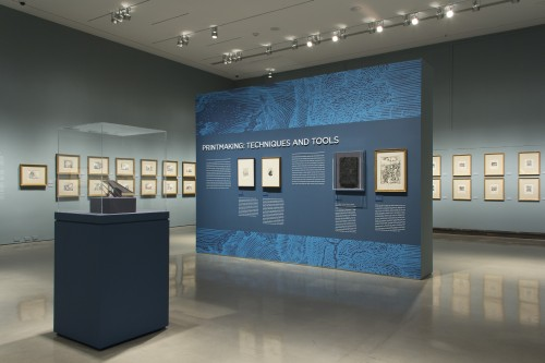 Installation view of Dürer, Rembrandt, Tiepolo: The Jansma Master Prints Collection from the Grand Rapids Art Museum at the Museum of Biblical Art, 2014. Photograph by Gina Fuentes Walker.