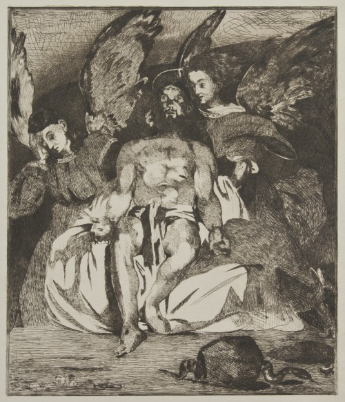 Édouard Manet. Dead Christ with Angels, 1866–67. Etching and aquatint printed in brown ink on beige China paper Jansma Collection, Grand Rapids Art Museum, 2010.12