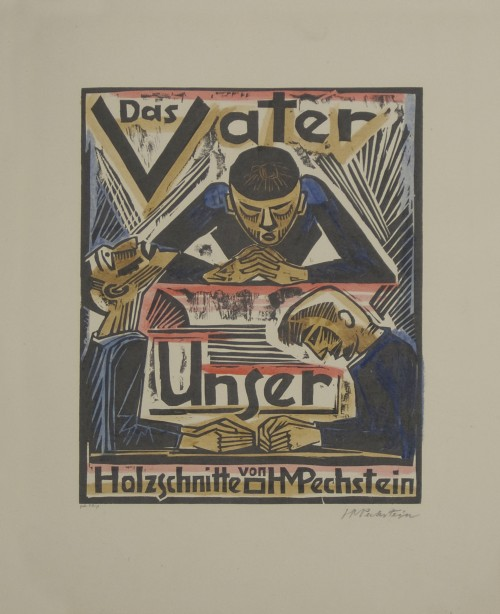 Max Pechstein. Hallowed Be Thy Name (Geheiliget werde Dein Name), from The Lord's Prayer (Das Vater Unser), 1921. Hand-coloured woodcut on cream wove paper. Jansma Collection, Grand Rapids Art Museum, 2009.127c