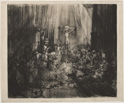 Rembrandt van Rijn. Christ Crucified Between Two Thieves (The Three Crosses), 1653–55. Drypoint with burin on cream laid paper.