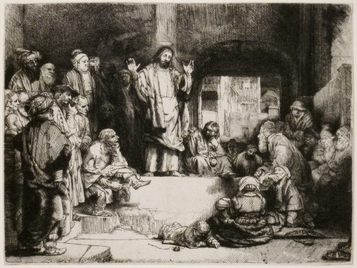 Rembrandt van Rijn. Christ Preaching (La Petite Tombe), c1652. Etching, engraving, and drypoint on off-white laid paper. Jansma Collection, Grand Rapids Art Museum, 2006.30