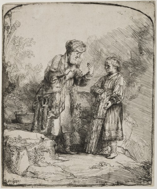Rembrandt van Rijn. Abraham and Isaac, 1645. Etching and drypoint on cream laid paper. Jansma Collection, Grand Rapids Art Museum, 2006.37