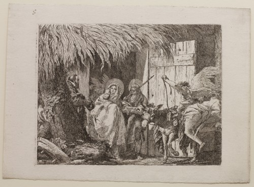 Giovanni Domenico Tiepolo. Joseph and Mary Seeking Shelter, plate 5 from The Flight into Egypt, 1750–53. Etching on paper