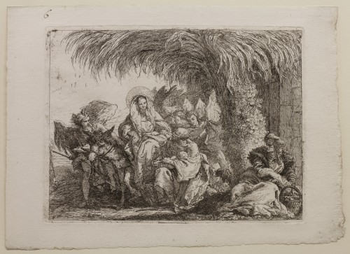 Giovanni Domenico Tiepolo. The Holy Family Under a Palm Tree, plate 6 from The Flight into Egypt (Idee pittoresche sopra la fuga in Egitto), 1750–53. Etching on off-white laid paper. Jansma Collection, Grand Rapids Art Museum, 2012.25