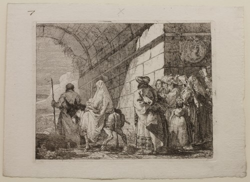Giovanni Domenico Tiepolo. The Holy Family Leaving by a City Gate, plate 7 from The Flight into Egypt (Idee pittoresche sopra la fuga in Egitto), 1750–53. Etching on off-white laid paper. Jansma Collection, Grand Rapids Art Museum, 2012.26
