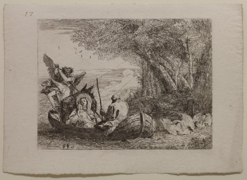 Giovanni Domenico Tiepolo. The Holy Family Crossing the Lake in the Boat, plate 17 from The Flight into Egypt (Idee pittoresche sopra la fuga in Egitto), 1750–53. Etching on off-white laid paper. Jansma Collection, Grand Rapids Art Museum, 2012.36