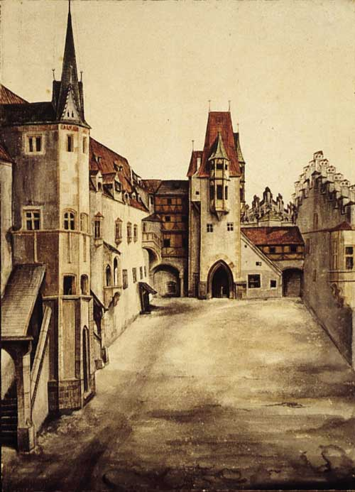 Dürer (1471-1528) <i>Courtyard of Innsbruck Castle</i>, c.1494-5, drawing. 