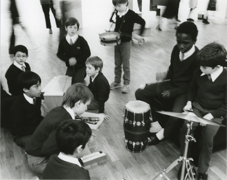 Amherst Junior, 1987, Artists in Schools, residency and performance with Charlie Hooker and Bruce McClean, Whitechapel Gallery. Whitechapel Gallery Archive.