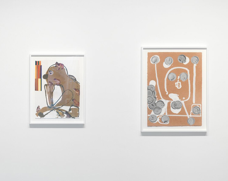 Nicole Eisenman. Left: Untitled, 2020, paper and collage, 62.2 x 47.6 cm (24 1/2 x 18 3/4 in); Right: Untitled, 2018, paper and collage, 77.5 x 57.2 cm (30 1/2 x 22 1/2 in). Photo courtesy Hauser & Wirth.