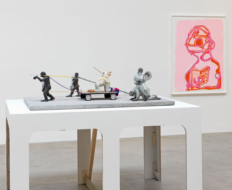 Nicole Eisenman, Procession Maquette, 2020. Bronze, mixed media. Perpetual Motion Machine, 13.5 x 7.5 x. 18 in; Pole Bearer, 10.5 x 34 x 4 in; Eagle in box, 3 x 3 x 2.5 in; Man at the Center of Men, 13.5 x 13 x 9.5 in; Museum Piece con Gas, 14 x 17 x 10 in; Base, 1.5 x 33 x 57 in, concrete.