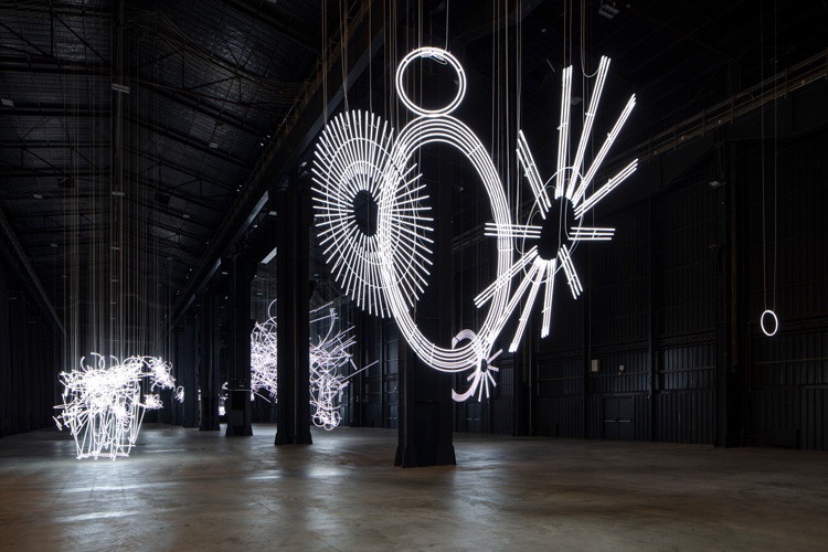 "Cerith Wyn Evans. ""….the Illuminating Gas"", exhibition view at Pirelli HangarBicocca, Milan, 2019. Courtesy of the artist and Pirelli HangarBicocca, Milan. Photo: Agostina Osio."