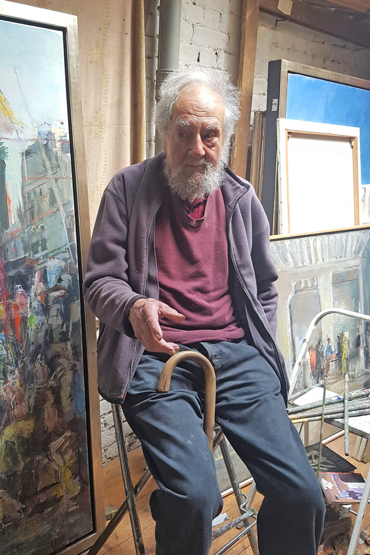Anthony Eyton in his studio, 2019. Photo: Juliet Rix.