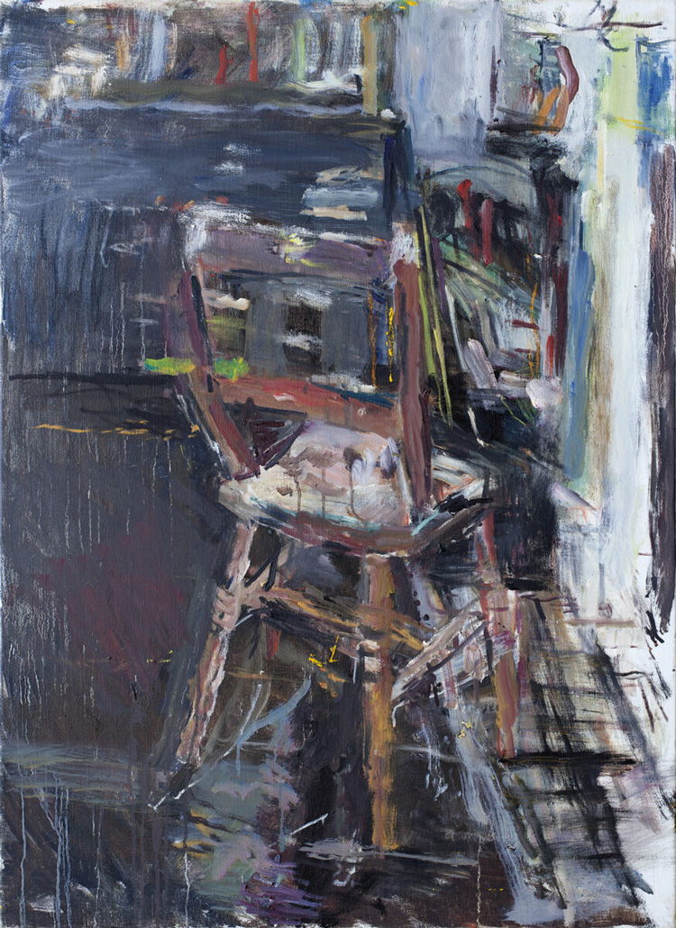 Anthony Eyton. Back of the Chair, oil on canvas, 2019. Oil on canvas, 40 x 29 in. Photo courtesy Browse & Darby.