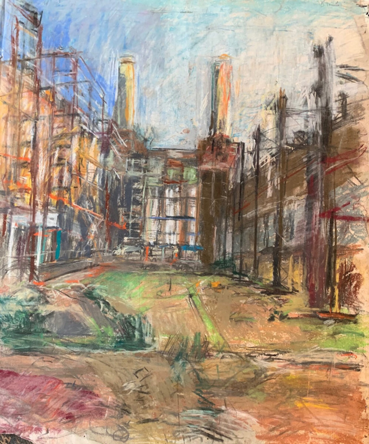 Anthony Eyton. Battersea Power Station, 2002. Pastel, 25 1/4 x 21 1/4 in. Photo courtesy Browse & Darby.