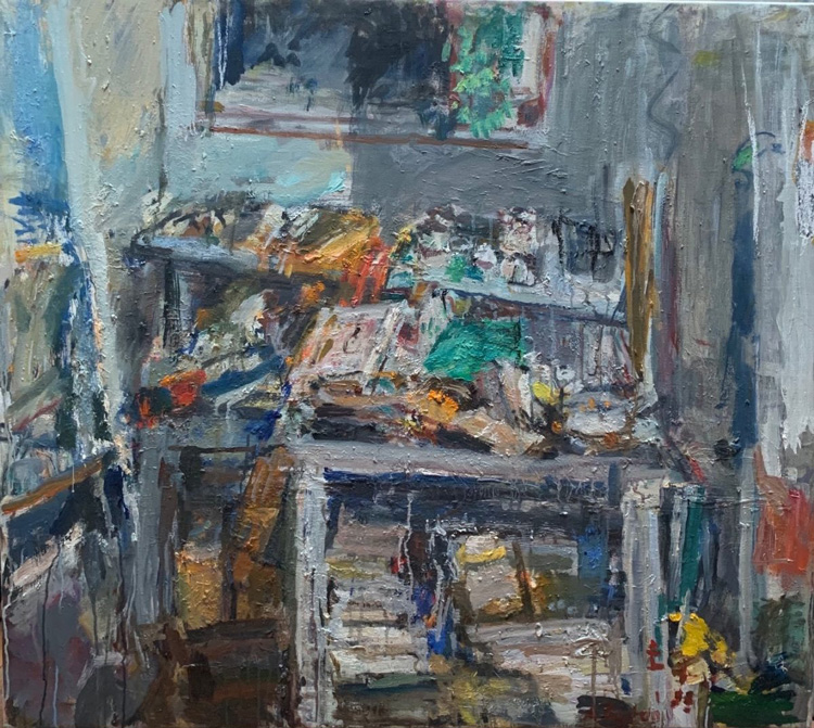 Anthony Eyton. Collapsed Shelf III, 2019. Oil on canvas, 35 x 39 1/2 in.  Photo courtesy Browse & Darby.