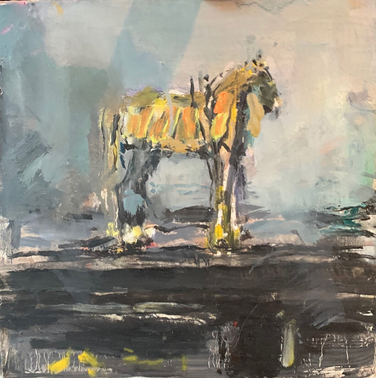 Anthony Eyton. Marwari Horse, 2018. Oil on board, 10 x 10 in. Photo courtesy Browse & Darby.