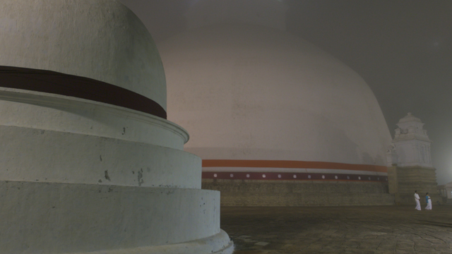 Film still. The Texture of Practice: Sri Lanka's Great Stupa. Filmmaker Stanley J. Staniski.