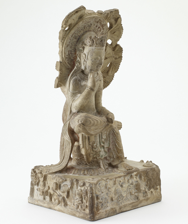 Future Buddha Maitreya (Mile), China, Hebei Province, Quyang, Northern Qi dynasty, 550–77. Marble with traces of pigment. Gift of Charles Lang Freer, Freer Gallery of Art.