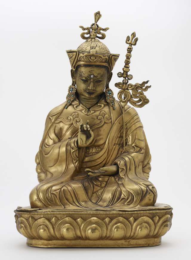 Padmasambhava. Central Tibet, c1700–1750. Gilt copper alloy, pearl and turquoise, traces of pigments on hair and face. The Alice S. Kandell Collection, Arthur M. Sackler Gallery.
