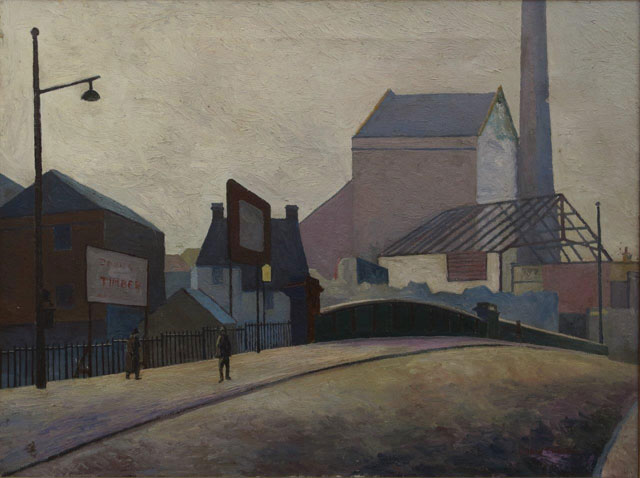 Elwin Hawthorne. Demolition of Bow Brewery, 1931. Oil on canvas, 44.5 x 60 cm. Private collection, © the artist's estate.