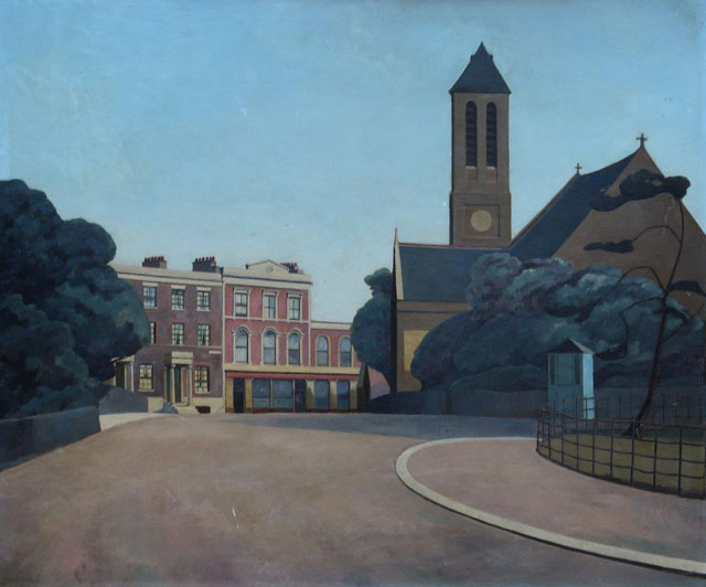 Harold Steggles. St Mark's Church, Victoria Park, 1934. Oil on board, 61 x 55 cm. Private collection, © the artist's estate.