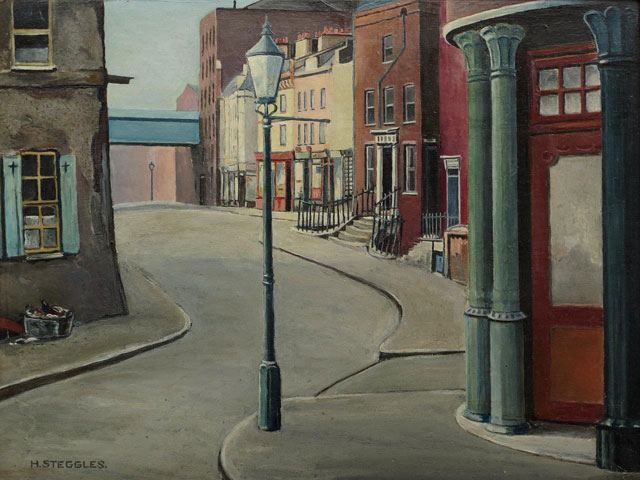 Harold Steggles. Warner Street, 1935. Oil on board, 23.5 x 31.5 cm. Private collection, © the artist's estate.