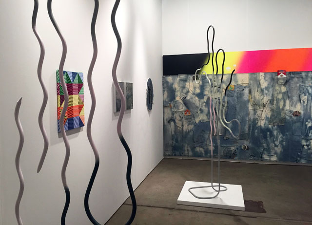 Installation view, Andrew Rafacz, showing artists J Michael Ford, Samantha Bittman, Daniel Shea and Wendy White, at EXPO Chicago 2017. Photograph: Harriet Thorpe.