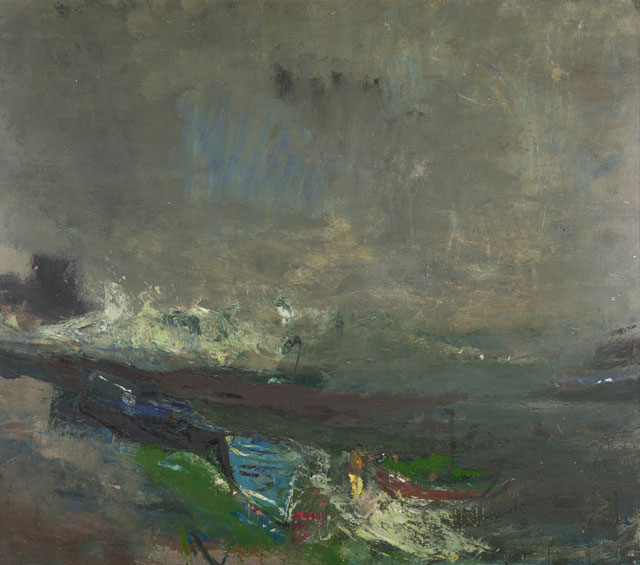 Joan Eardley. Boats on the Shore, about 1963. Oil on hardboard, 101.6 x 115.6 cm. Collection: National Galleries of Scotland. © Estate of Joan Eardley. All Rights Reserved, DACS 2016.