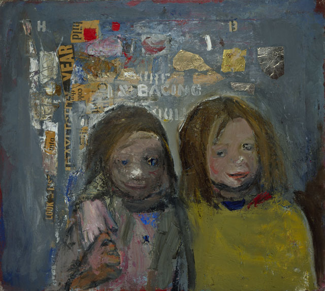 Joan Eardley. Children and Chalked Wall 3, 1962-63. Oil, newspaper and metal foil on canvas, 61.00 x 68.60 cm. Collection: National Galleries of Scotland, purchased 1963. © Estate of Joan Eardley. All Rights Reserved, DACS 2016. Photograph: Antonio Reeve.