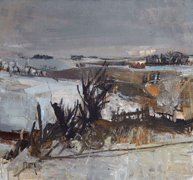 Joan EARDLEY. Fields Under Snow, 1958. Oil on canvas, 68 x 73 cm. Private collection. © Estate of Joan Eardley. All Rights Reserved, DACS 2016.
