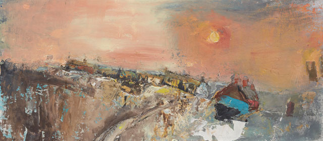 Joan Easdley. Winter Day, Catterline, c1957–60. Oil on calico on board, 30 x 69 cm. Private collection. © Estate of Joan Eardley. All Rights Reserved, DACS 2016.