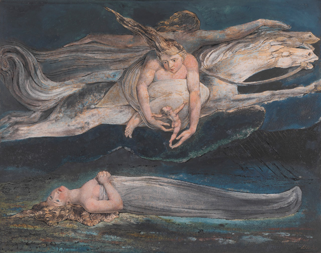William Blake. Pity, c1795. Colour print, ink and watercolour on paper, 42.5 x 53.9 cm. Tate. Presented by W. Graham Robertson 1939. Photograph © Tate 2016.