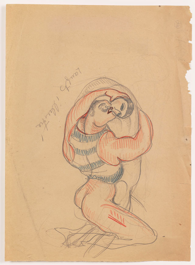 Sergei Eisenstein. Untitled, undated. Coloured pencil on paper, 14.65 x 10.63 in (37.2 x 27 cm). Private collection. Courtesy Alexander Gray Associates, New York and Matthew Stephenson, London.