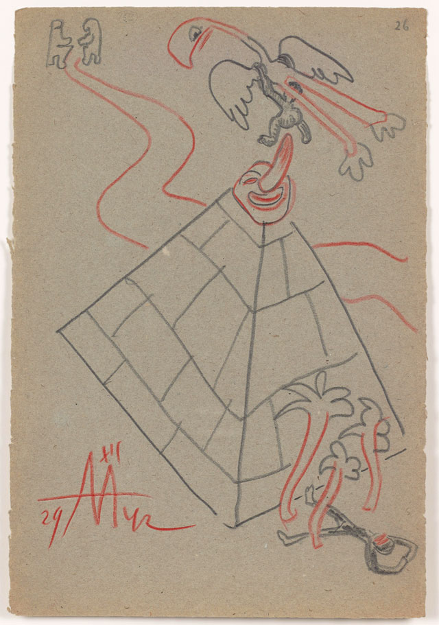 Sergei Eisenstein. Untitled, 1942. Coloured pencil on paper, 12.68 x 8.66 in (32.2 x 22 cm). Private collection. Courtesy Alexander Gray Associates, New York and Matthew Stephenson, London.
