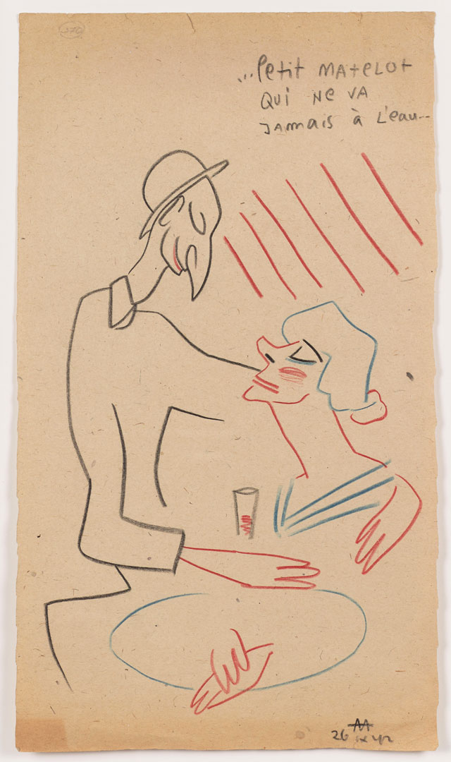 Sergei Eisenstein. Untitled, 1942. Coloured pencil on paper, 15 x 8.54 in (38.1 x 21.7 cm). Private collection. Courtesy Alexander Gray Associates, New York and Matthew Stephenson, London.