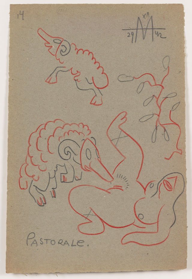 Sergei Eisenstein. Untitled, 1942. Coloured pencil on paper, 12.83 x 8.5 in (32.59 x 21.59 cm). Private collection. Courtesy Alexander Gray Associates, New York and Matthew Stephenson, London.