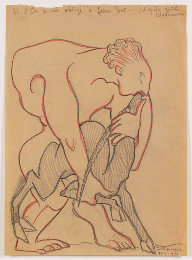 Sergei Eisenstein. Untitled, 1931. Coloured pencil on paper, 14.69 x 10.63 in (37.31 x 27 cm). Private collection. Courtesy Alexander Gray Associates, New York and Matthew Stephenson, London.