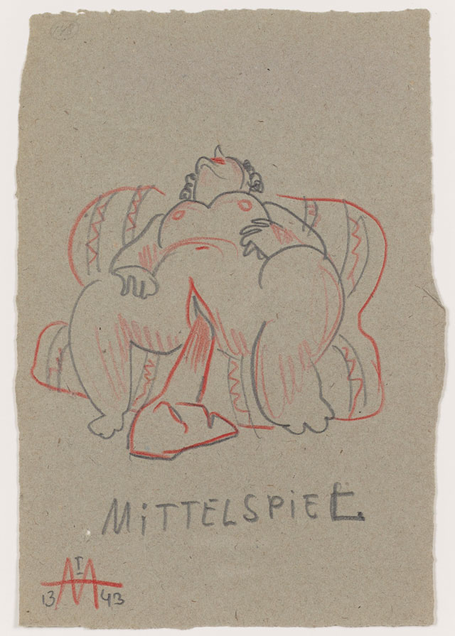 Sergei Eisenstein. Untitled, 1943. Coloured pencil on paper, 9.88 x 6.65 in (25.1 x 16.89 cm). Private collection. Courtesy Alexander Gray Associates, New York and Matthew Stephenson, London.