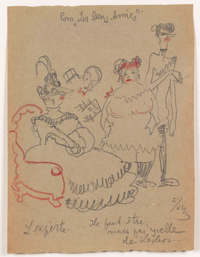 Sergei Eisenstein. Untitled, 1943. Coloured pencil on paper, 11.57 x 8.62 in (29.39 x 21.89 cm). Private collection. Courtesy Alexander Gray Associates, New York and Matthew Stephenson, London.